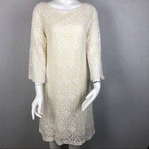 Sharagano Ivory Lace Bell Sleeve Dress Size 12
